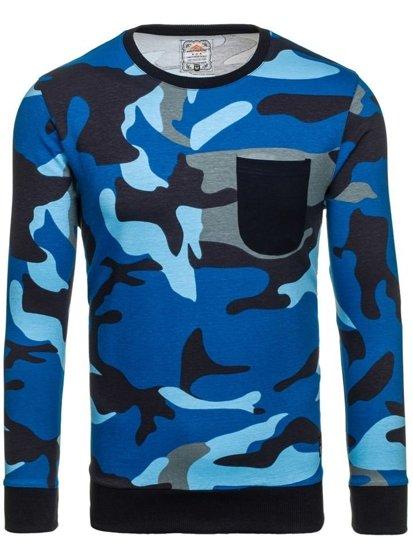 Bluza męska bez kaptura moro-niebieska Denley 0741