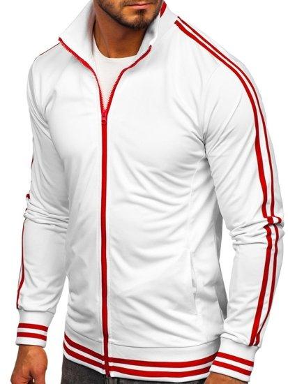 Bluza męska bez kaptura rozpinana retro style biała Bolf 11113