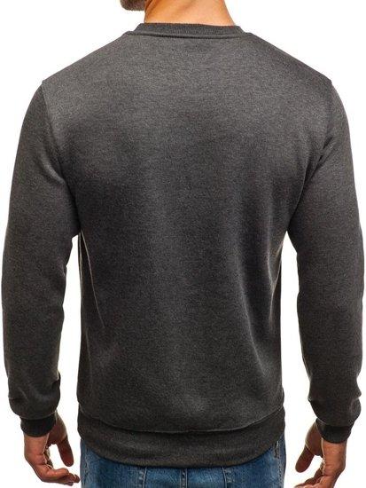 Bluza męska bez kaptura z nadrukiem antracytowa Denley 0526