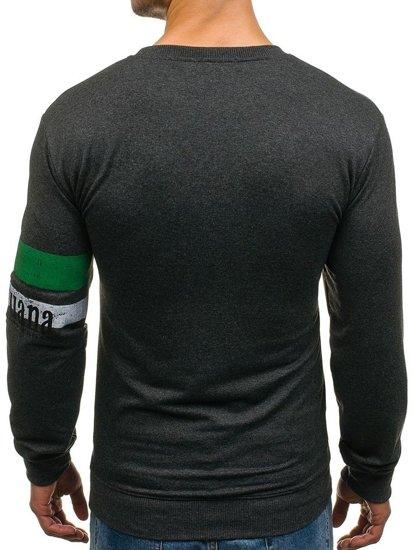 Bluza męska bez kaptura z nadrukiem antracytowa Denley 1251