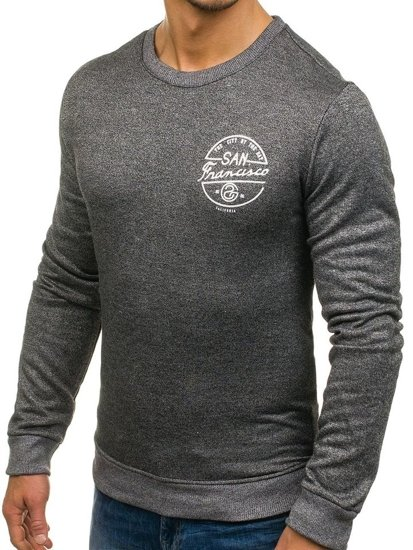 Bluza męska bez kaptura z nadrukiem antracytowa Denley 9035