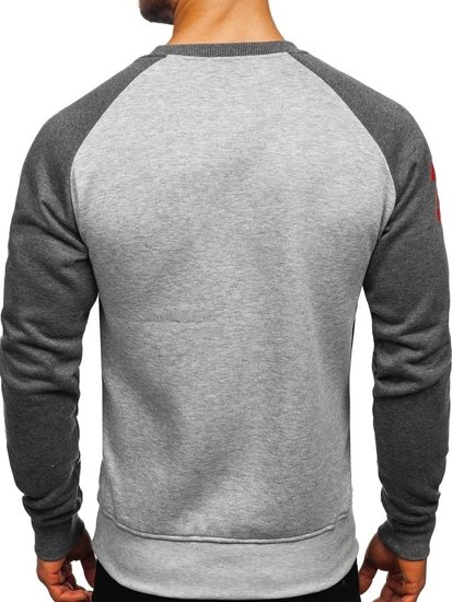 Bluza męska bez kaptura z nadrukiem antracytowo-szara Denley J09