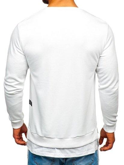 Bluza męska bez kaptura z nadrukiem biała Bolf 11114