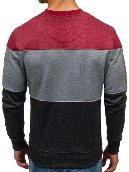 Bluza męska bez kaptura z nadrukiem bordowo-szara Denley 3668