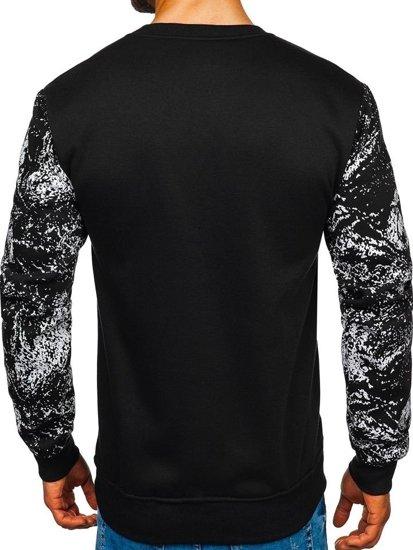 Bluza męska bez kaptura z nadrukiem czarna DD108