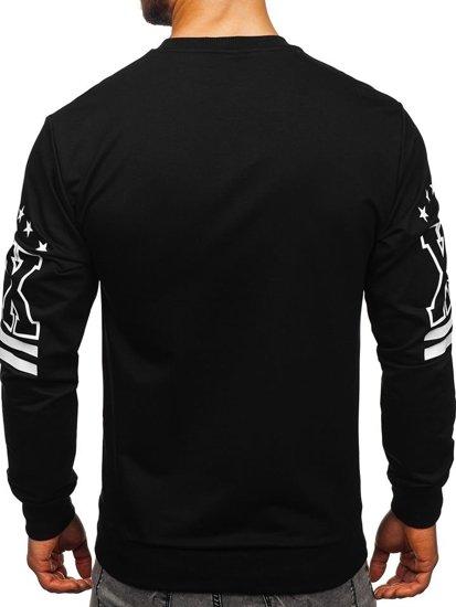 Bluza męska bez kaptura z nadrukiem czarna Denley 0384
