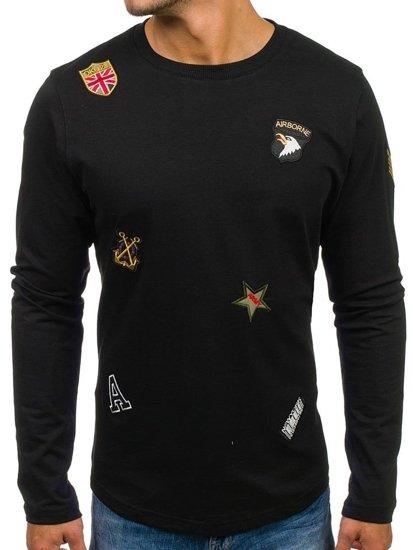 Bluza męska bez kaptura z nadrukiem czarna Denley 0739