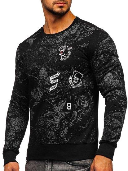 Bluza męska bez kaptura z nadrukiem czarna Denley DD116