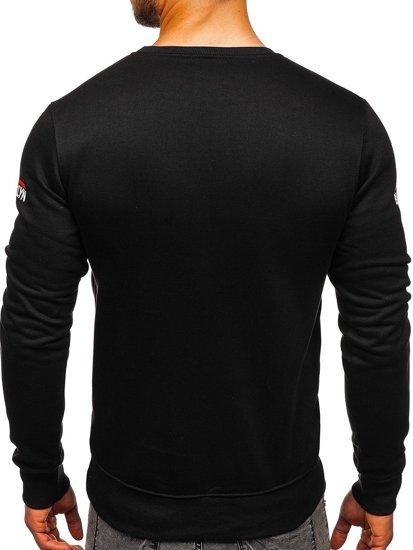 Bluza męska bez kaptura z nadrukiem czarna Denley DD393