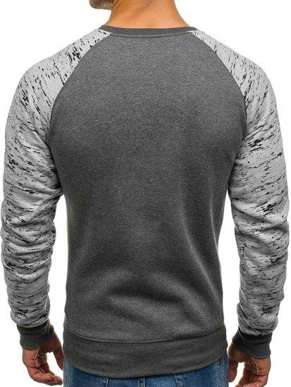 Bluza męska bez kaptura z nadrukiem grafitowa Denley DD11-A