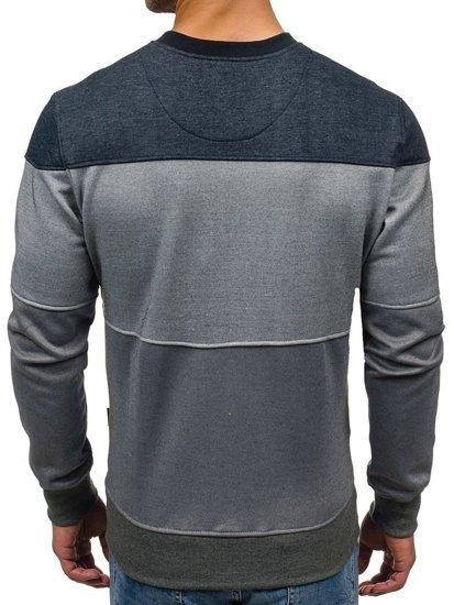 Bluza męska bez kaptura z nadrukiem granatowo-szara Denley 3668