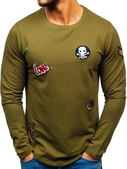 Bluza męska bez kaptura z nadrukiem khaki Denley 0734