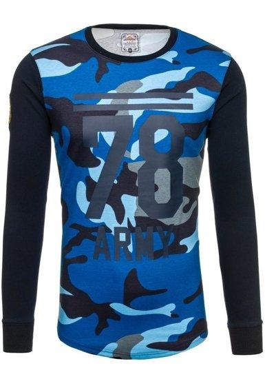 Bluza męska bez kaptura z nadrukiem moro-granatowa Denley 0746