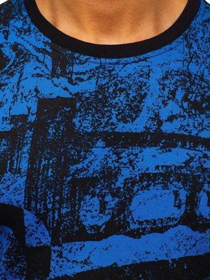 Bluza męska bez kaptura z nadrukiem niebieska Denley DD659