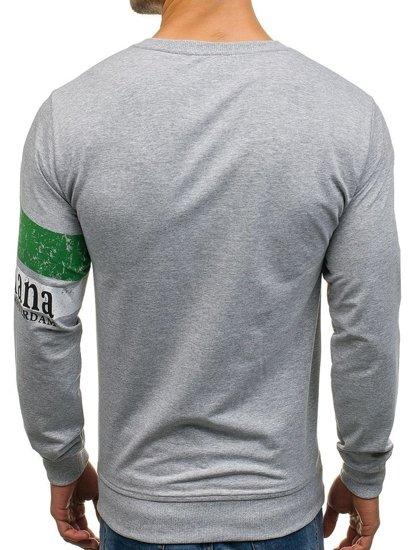 Bluza męska bez kaptura z nadrukiem szara Denley 1251