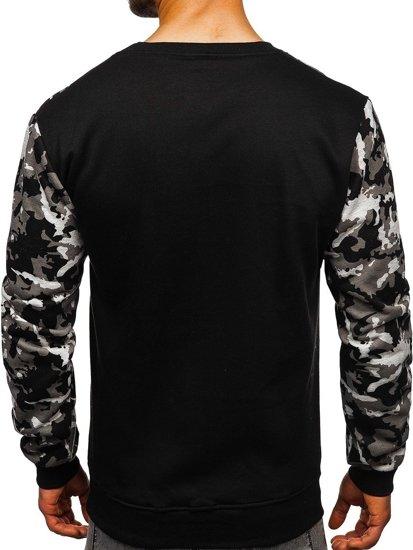 Bluza męska bez kaptura z nadrukiem szara Denley 22052