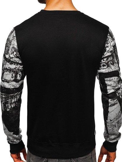 Bluza męska bez kaptura z nadrukiem szara Denley DD659