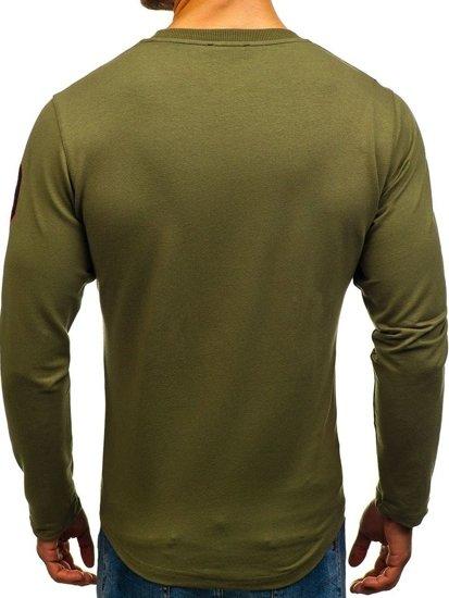 Bluza męska bez kaptura z nadrukiem zielona Denley 0738
