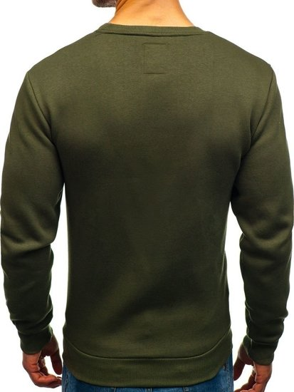Bluza męska bez kaptura z nadrukiem zielona Denley 0773