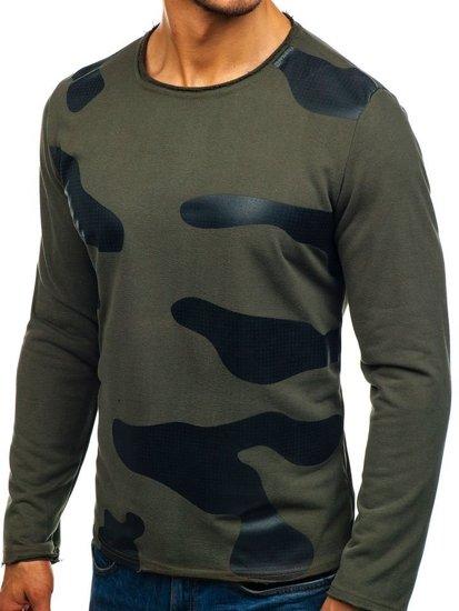 Bluza męska bez kaptura z nadrukiem zielona Denley 9081