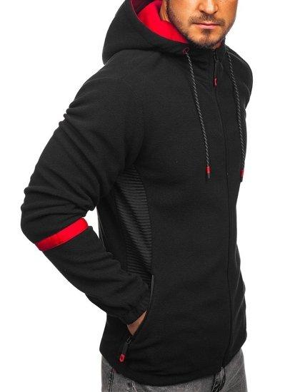Bluza męska polar z kapturem czarna Denley YL007