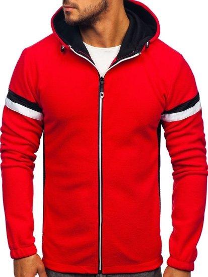 Bluza męska polar z kapturem czerwona Denley YL008
