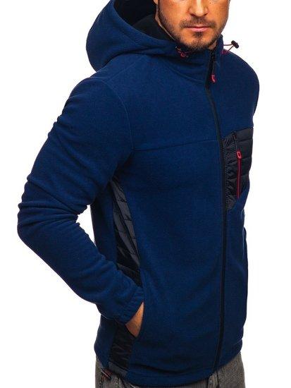 Bluza męska polar z kapturem granatowa Denley YL011
