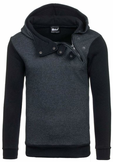 Bluza męska z kapturem antracytowo-czarna Bolf 06S