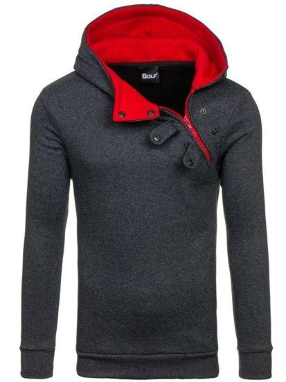 Bluza męska z kapturem antracytowo-czerwona Bolf 06S