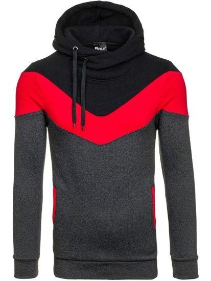 Bluza męska z kapturem antracytowo-czerwona Bolf 27S