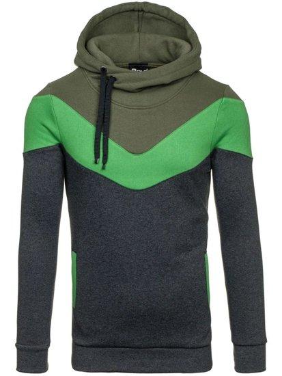 Bluza męska z kapturem antracytowo-zielona Bolf 27S