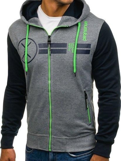 Bluza męska z kapturem antracytowo-zielona Denley HL14