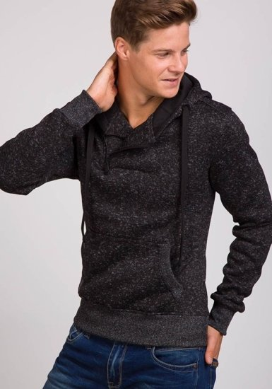 Bluza męska z kapturem czarna Denley 2155