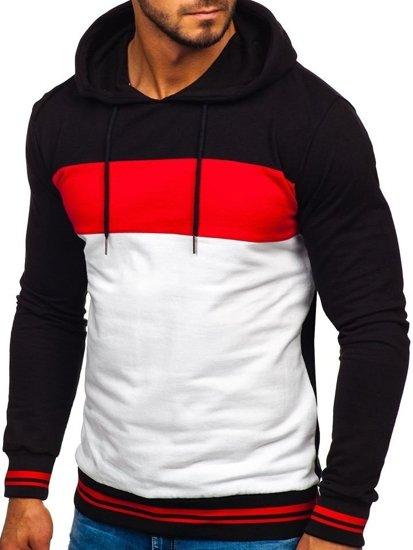 Bluza męska z kapturem czarno-biały Bolf 145366