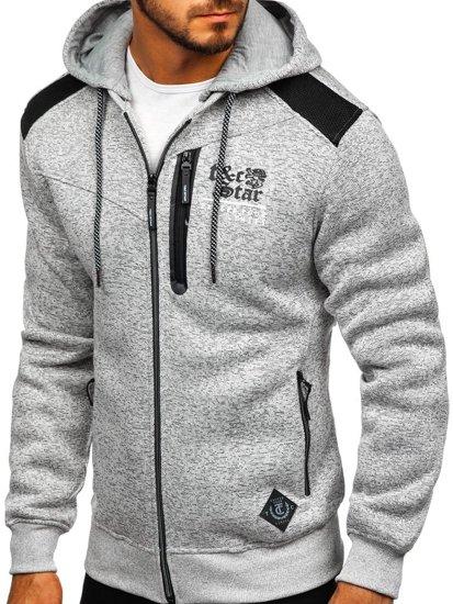 Bluza męska z kapturem jasnoszara Denley 2095