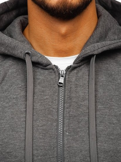 Bluza męska z kapturem rozpinana antracytowa Denley 2008