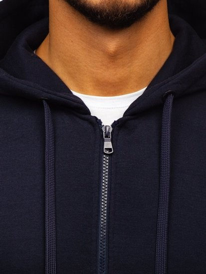 Bluza męska z kapturem rozpinana atramentowa Denley 2008-A