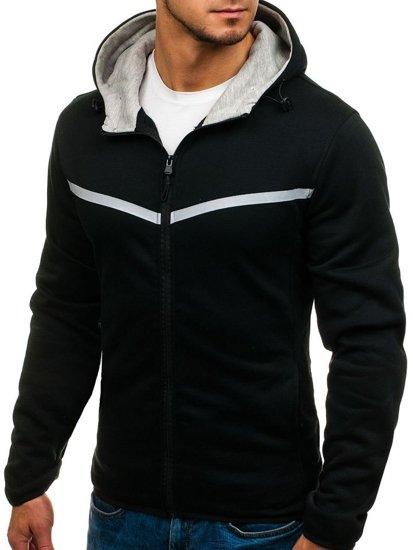 Bluza męska z kapturem rozpinana czarna Denley AK74