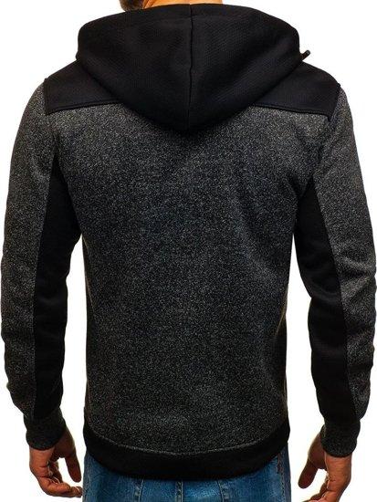 Bluza męska z kapturem rozpinana czarna Denley TC887