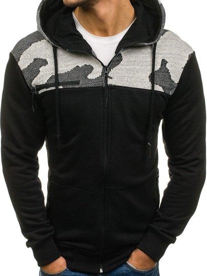 Bluza męska z kapturem rozpinana czarno-szara Denley 0915