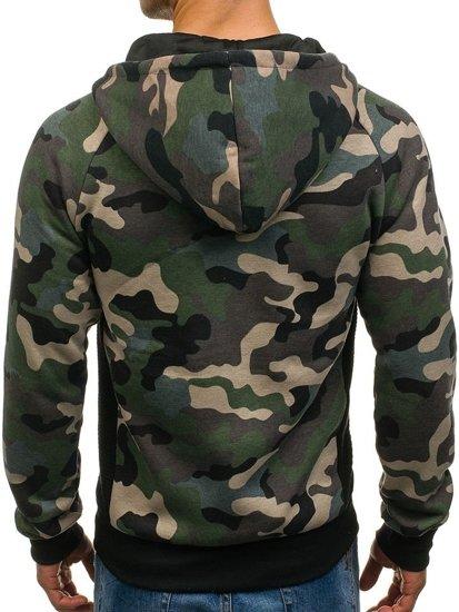 Bluza męska z kapturem rozpinana moro-zielona Denley W1379