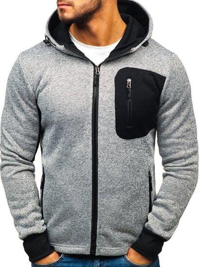 Bluza męska z kapturem rozpinana szara Denley AK43B