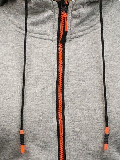 Bluza męska z kapturem rozpinana szara Denley DD80