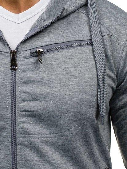 Bluza męska z kapturem szara Denley 7083