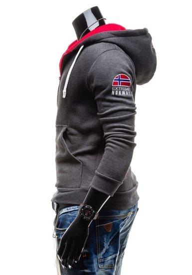 Bluza męska z kapturem z nadrukiem antracytowa Bolf 40