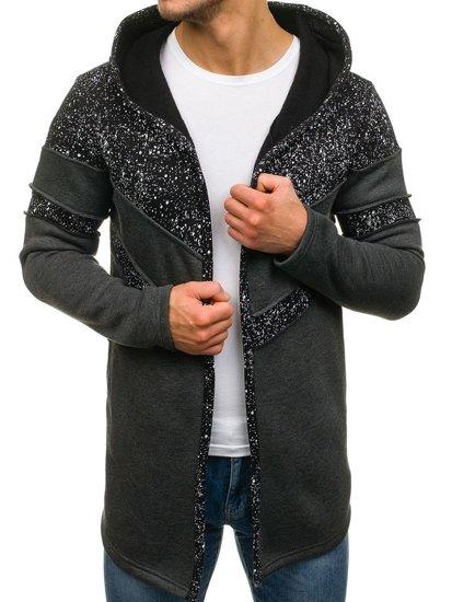 Bluza męska z kapturem z nadrukiem antracytowa Bolf 9116