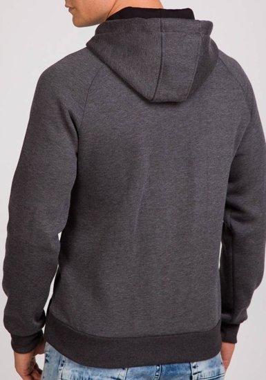 Bluza męska z kapturem z nadrukiem antracytowa Denley 0513