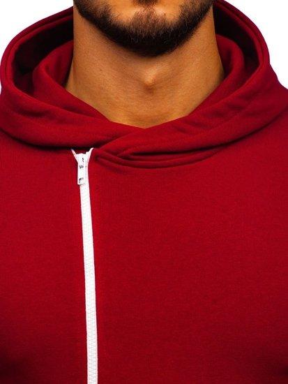 Bluza męska z kapturem z nadrukiem bordowa Bolf 01