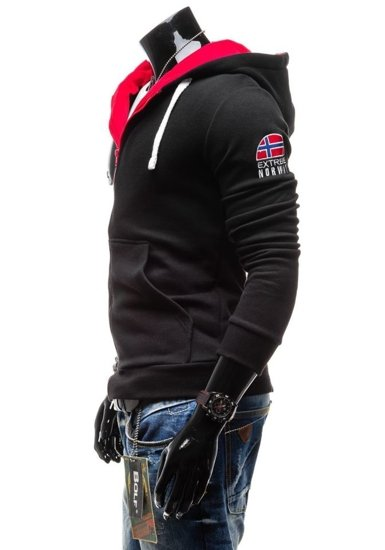 Bluza męska z kapturem z nadrukiem czarna Bolf 40