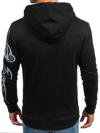 Bluza męska z kapturem z nadrukiem czarna Denley 0422